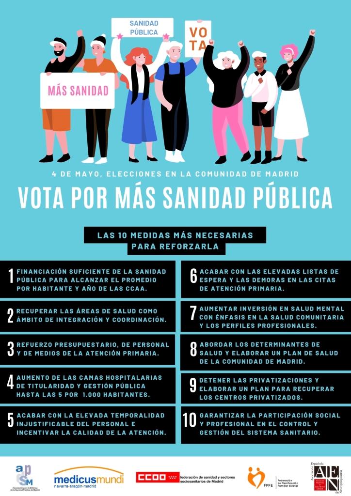 Visual Manifiesto MAS SANIDAD PUBLICA ELECCIONES COM MADRID